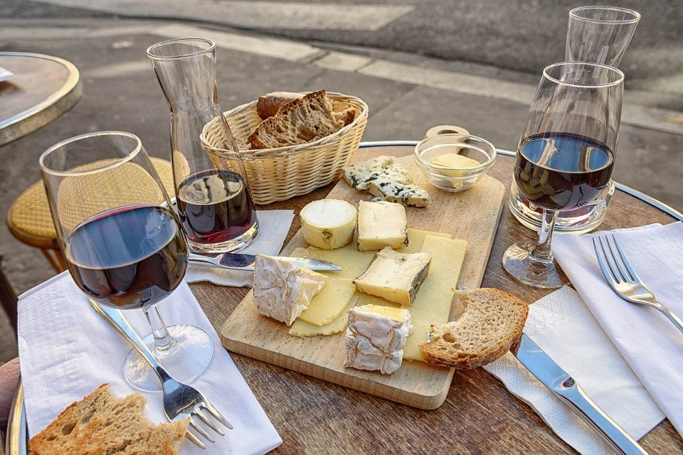 Wine tasting and cheese board