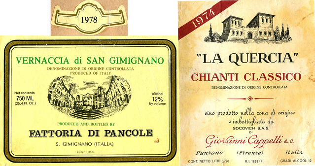 Italian wine labels